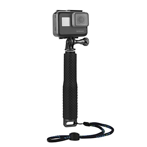 "Luxebell Selfie Stick Aluminium Waterproof Telescopic Pole Monopod for Gopro Hero 7 6 5, 4, Fusion, Session, Black, Silver, 3+, 3, 2, 7""-19"""