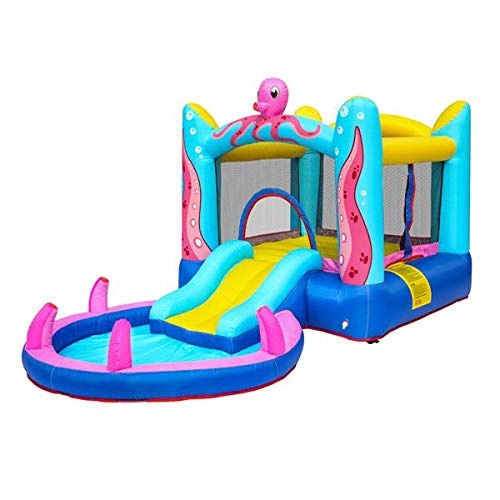 Bounce House, Inflatable Bouncer with Air Blower, Jumping Castle with Slide, Family Backyard Bouncy Castle, Durable Sewn with Extra Thick Material, Idea for Kids