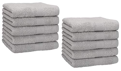 Betz Lot de 10 Serviettes débarbouillettes lavettes Taille 30x30 cm en 100% Coton Premium Couleur Gris argenté