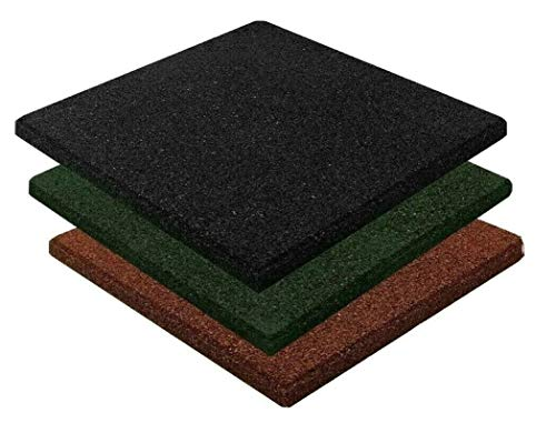 12x Fallschutzmatte Spielplatz Matten 50x50 grün rot schwarz Schaukel Rutsche Kletterturm Stelzenhaus Outdoor (6x rot + 6x schwarz)