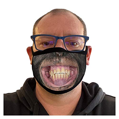 HEnri 1 Stück Reusable Gesichtsbedeckung_Washable, Komisch 3D Print Half Face Bandana Cotton Mouth Nose Covers Dust Anti Pollution Face Cover for Women Men