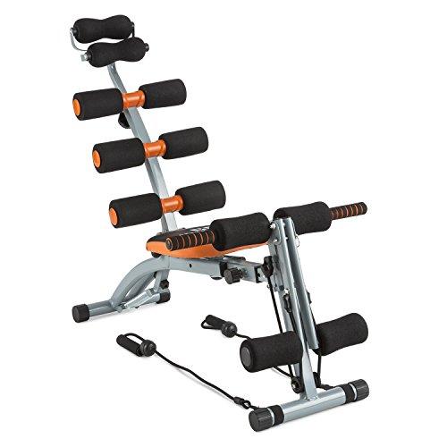 Capital Sports Sixish Core - Bauchtrainer, Body-Trainer, Fitness-Trainer, drehbarer Sitz, individuelle Anpassung, elastische Seilzugbänder, pulverbeschichteter Stahl, orange