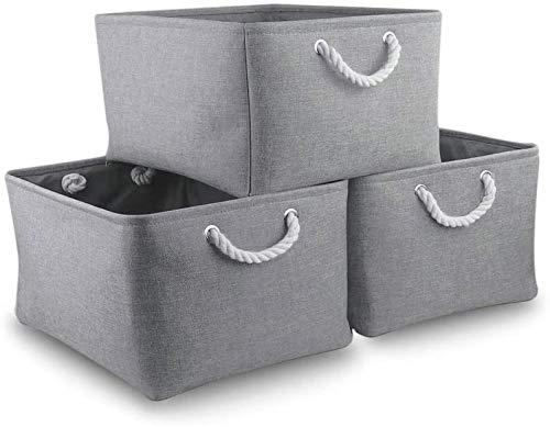 MANGATA Cajas de Almacenamiento Plegables, cestas Grandes de Tela, Paquete de 3 (Gris, Grande)