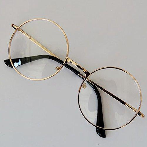 Forfar Mode Unisexe Rétro Round Circle Metal Frame Eyeglasses Original Clear Lens Eye Lunettes 2 Styles pour Hommes/Femmes