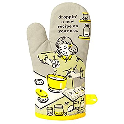 """Blue Q Oven Mitt """"Droppin' a New Recipe"""", Grey/Yellow, One Size by Blue Q"""