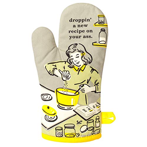 Blue Q Oven Mitt quotDroppin#039 a New Recipequot Grey/Yellow One Size
