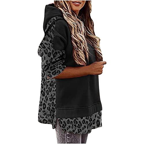 Orgrul Sudadera larga con capucha para mujer, cuello redondo, sudadera con capucha, para tiempo libre, deporte, manga larga, Negro , XL