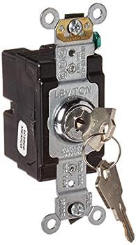 Leviton 1221-2KL 20 Amp 120/277 Volt Key Locking Single-Pole AC Quiet Switch Extra Heavy Duty Spec Grade Self Grounding Chrome