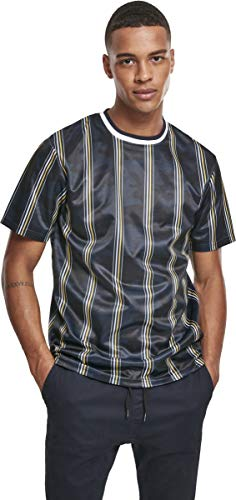 Southpole Herren Thin Vertical Stripes AOP T-Shirt, Navy, 2XL