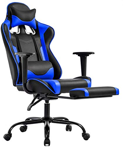 Gaming Chair PC Computer Game Chair Office Chair Desk Chair Lumbar Support with Footrest Modern Task Rolling Swivel Racing Chair-Blue
