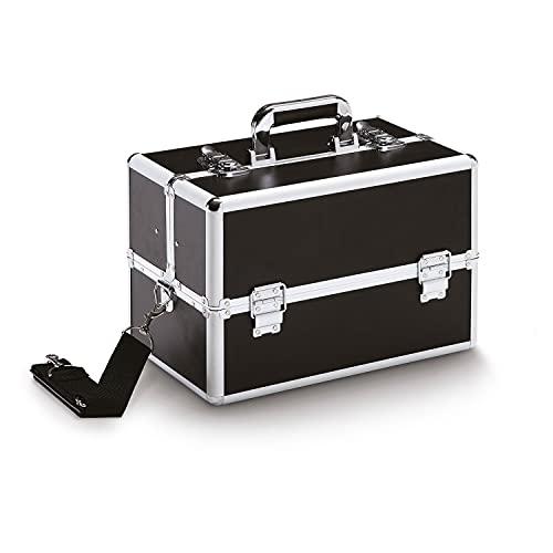 Vivezen ® Mallette, valise à maquillage avec poignée de transport - 36,5 x 23 x 25 cm - Noir
