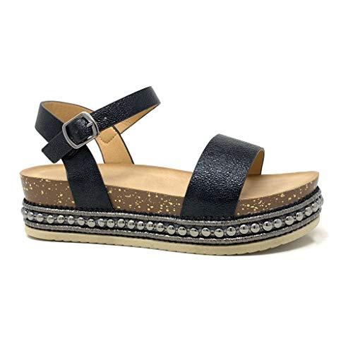 Angkorly - Chaussure Mode Sandale Folk/Ethnique Confortable Plat Femme clouté lanière liège Talon Compensé Plateforme 5 CM - Noir 3-1039 T 36