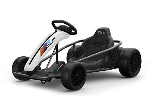 ES-TOYS Kinder Elektroauto e-Gokart mit 24V und Driftfunktion + 2X 12V9AH Akku und 2 Motoren (Weiss)