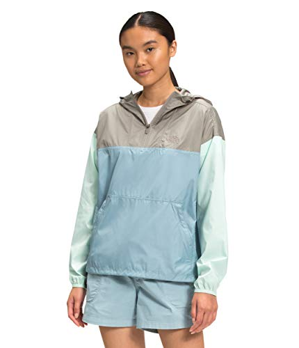 The North Face Women's Cyclone Pullover, Mineral Grey/Tourmaline Blue/Misty Jade, 3XL