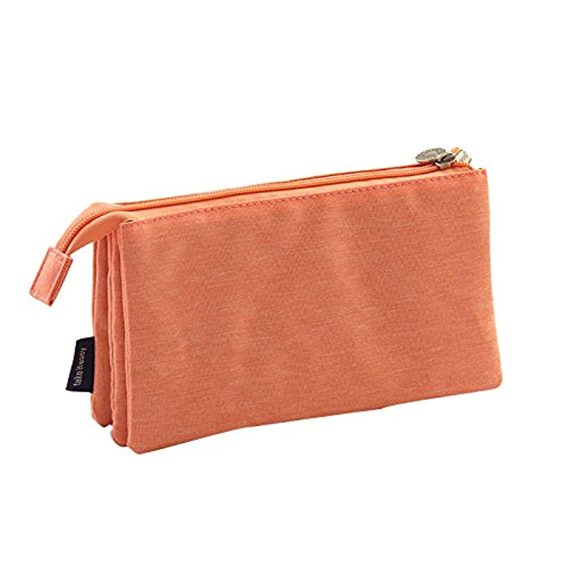 Multifunctional Kawaii Candy Color Canvas Three Layers Compartment Double Zipper School Pencil Case Cute Pen Holder Cosmetic Bag Stationery Organizer Pouch (D)
