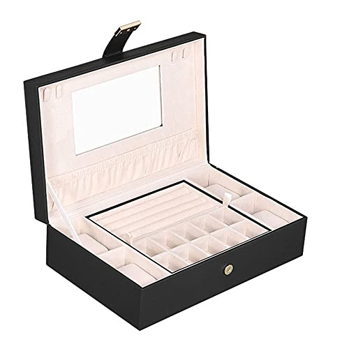 Caja de reloj de doble capa Caja grande Caja de joyería Pulsera Reloj Pendiente Pendiente Joyería Caja de almacenamiento con espejo Caja de almacenamiento portátil de almacenamiento de hogar