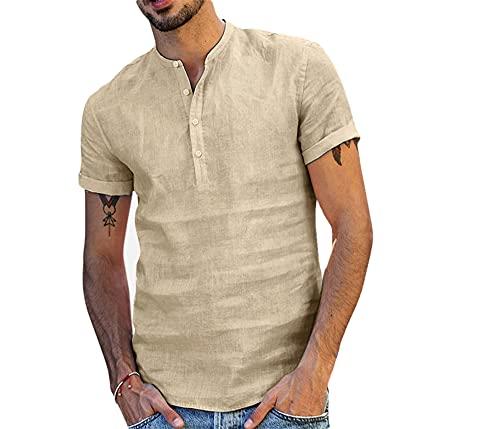 Shirt Hombres Verano Ligero Transpirable Camisa De Lino Hombres Cuello Redondo Regular Fit Manga Corta Shirt Hombres Moderno Urbano Casual Color Sólido Secado Rápido Tops Hombres
