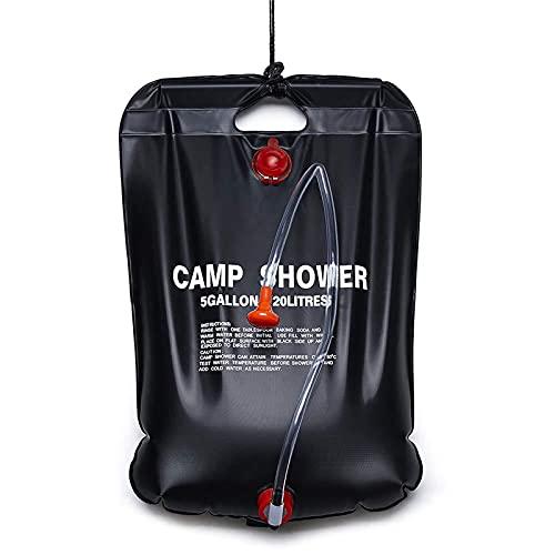 Bolsa De Almacenamiento De Agua Al Aire Libre Portátil, Bolsa De Ducha De Camping Solar, 5 Galones / 20 litros, con Cabezal De Ducha Ajustable Y Manguera Desmontable