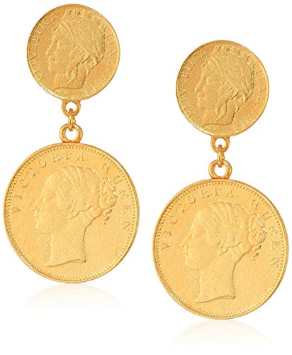Ben-Amun Moroccan Coin 24K Gold Plated Vintage Earrings, New York Fashion Jewelry