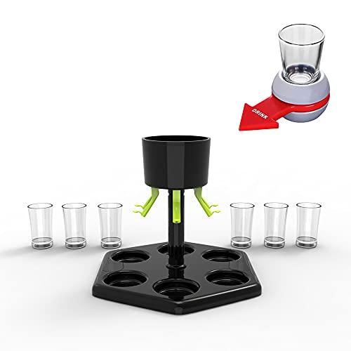 LSAMA Dosatore per liquori con 6 bicchieri di plastica – dispenser per bicchieri, bicchierini da bar per riempire bevande, vini e bevande (dispenser + tazza + rosso rotto lo shot)