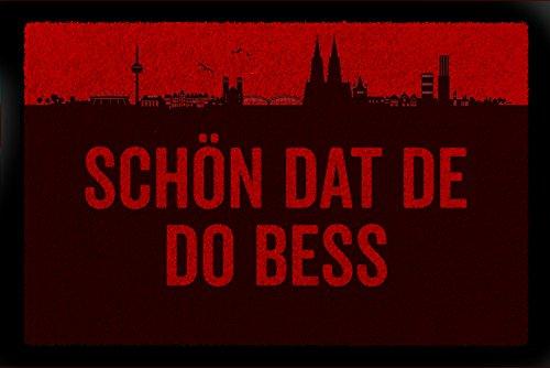 Interluxe FUSSMATTE Geschenk SCHÖN DAT DE DO BESS Köln Geschenk Einzug Rot