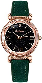 Fashion Ladies Starry Sky Leather Belt Watch(Black) Personality (Color : Green)