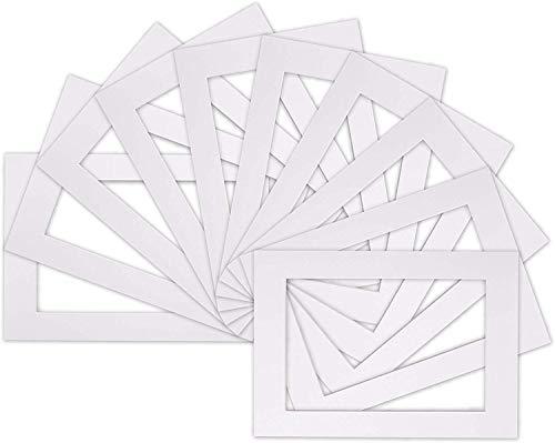 Paspartús a medida con diseño cortados a través de sistemas de computadora de alta gama. Paspartús para imágenes/para marcos - Paquete de 10 - Tamaño de marco 8x6 Tamaño del paspartú 6x4 - Blanca