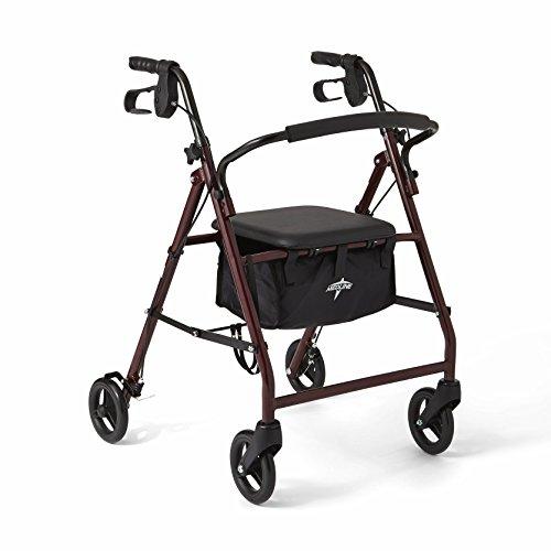 Medline Rollator Walker with Seat Durable Steel Folding Rolling walker with 6quot Wheels Burgundy