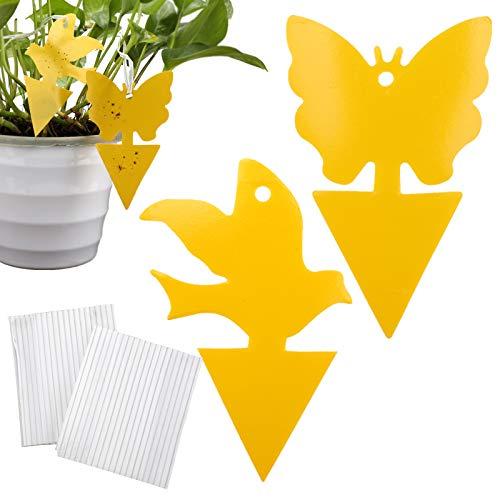 LUTER 60 Trampas Adhesivas Amarillas de Doble Cara para Insectos Voladores de Plantas, Mosquitos de Hongos, Moscas de La Fruta, Mosquitos, Moscas Blancas