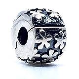 Sterling Silver Charms 1 Abalorio de Seguridad con Cierre de Clip. Plata de Ley 100% Fabricado en España, Compatible Pulseras Tipo Pandora, Swarovski, chamilia, etc. 1 Unidad