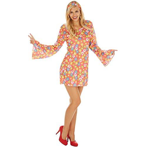 TecTake dressforfun Disfraz de Hippie para Mujer de Las Flores | Vestido con un Estampado Floral Muy Colorido para un Extra de Flower Power | Incl. Cinta para el Pelo Muy Estilosa (S | No. 300922)