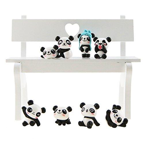 1 Spielset (8 Stück) niedliche Panda-Spielfiguren, für DIY Gartenarbeit oder als Kuchendekoration