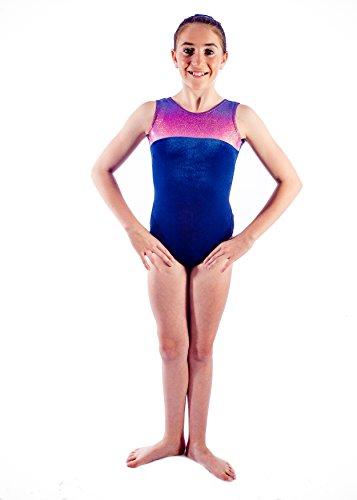 Premier Gymwear Leotardo de Gimnasia para niñas y Mujeres, 4 hologramas, Brillo y Terciopelo Azul Marino Suave, Color Azul, tamaño 9-10 Años