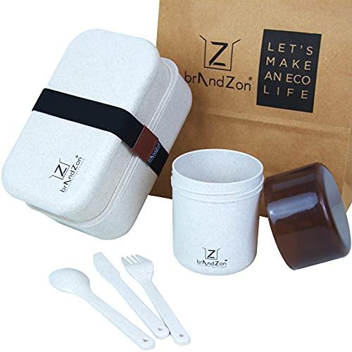 Brandzon® - Lunch Box Porta Pranzo Ermetico con Posate A 2 Scomparti + Contenitore Ermetico da 420ml - Kit 2 in 1 Bento Box Eco SKISCIA + Eco KUP