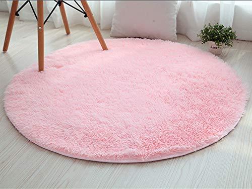 LIYINGKEJI Runde Teppiche für Kinderzimmer Teppiche Kinder Spielen Super Weiche Wohnzimmer Schlafzimmer Home Shaggy Teppich 120 cm Durchmesser (47