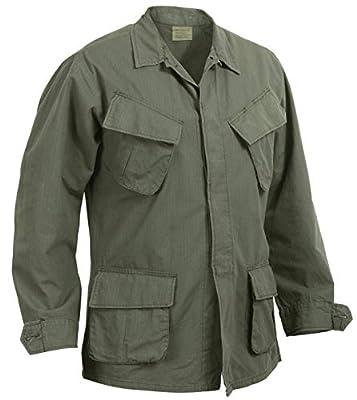 Rothco Vintage Vietnam Fatigue Shirt Rip-Stop, S, Olive Drab