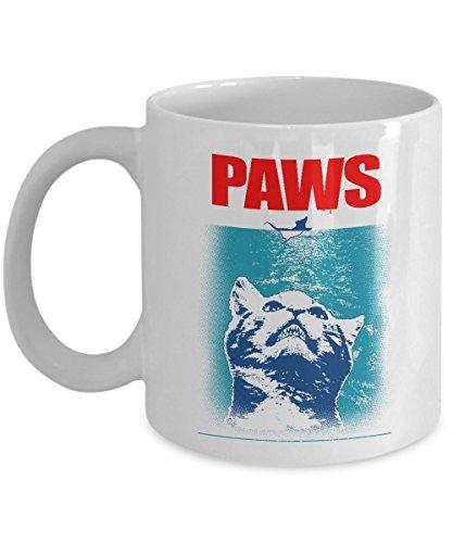 MyFaveGift Funny Cat Lovers PAWS 11oz Ceramic Coffee Mug Tea Cup Cute Gift Idea