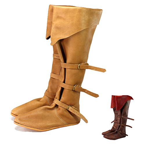 Vehi Mercatus Mittelalter Schuhe für Damen und Herren Spätmittelalter Stulpenstiefel Naturbraun Gr. 40