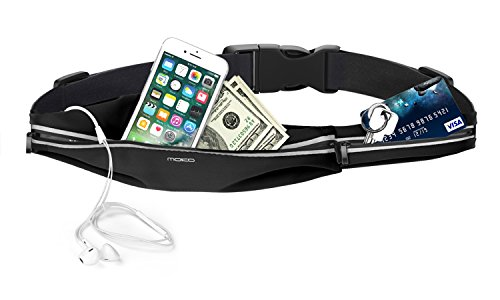 MoKo 2 Bolsillos Riñonera de Licra Quick-Dry Secado Rápido Cómodo Deportivo para Correr Fitness de Entrenamineto Multiuso para iPhone 11, iPhone 11 Pro, iPhone 11 Pro MAX, S10 S10 Plus S10e - Negro