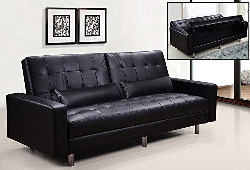 Divano letto contenitore ecopelle nero 3 posti reclinabile con cuscini