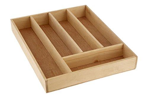 Premier Housewares - Cubertero, Organizador de Cubiertos, Madera de Abedul (5 x 30 x 38 cm)