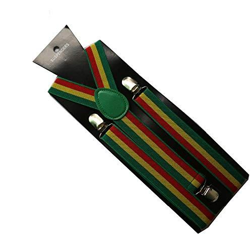 eaodz Unisex Verstellbar Und Elastisch Mit Einem Sehr Starken Clips 2,5 cm Breite Einstellbare Y-Back Grün Gelb Rot Jamaika Flagge Gestreifte Hosenträger Herren Damen