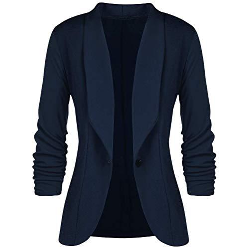 HaiDean Blazer Dames herfstjas, eenkleurig, 3/4 jongens, chique mouwen, revers, button geplooid, vrijetijdspak, trendy outwear