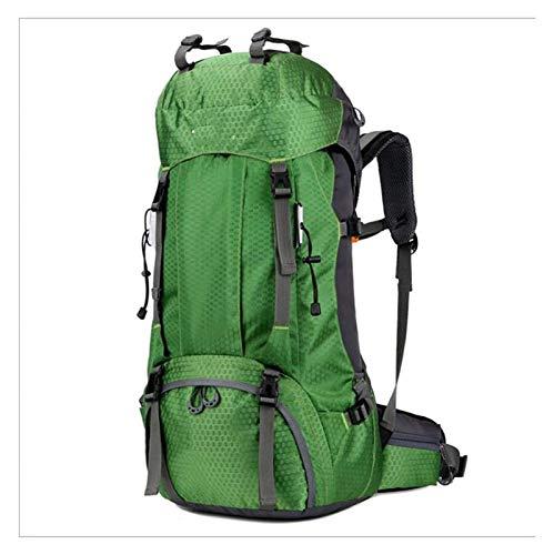 YCRCTC Senderismo Mochila60L, Hombres Mujeres 55L + 5L, Mochila Impermeable, Mochila de Viaje de Trekking, Mochila al Aire Libre con Cubierta de Lluvia para (Color : Green)