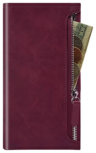 Qoosan Galaxy Note 10 Plus Zipper Wallet Case, Leather Flip Cover with Card Holder, Wine