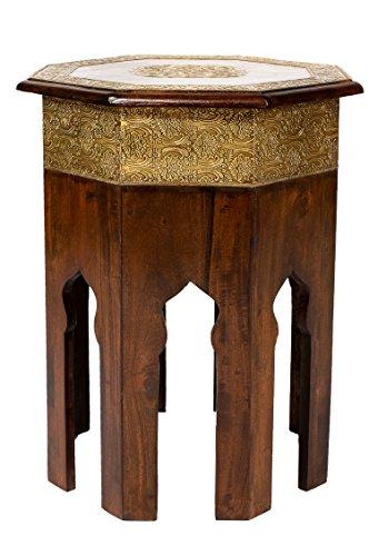 Marokkanischer Beistelltisch Couchtisch aus Holz massiv Oriental 52 cm | Vintage Tisch aus Massivholz mit Messing verziert für Ihr Wohnzimmer | Niedriger Orientalischer Sofatisch Massivholztisch Braun