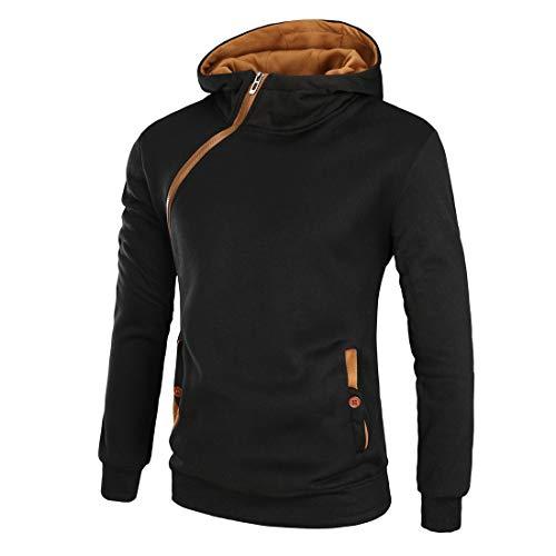 XLDD Sudadera con capucha para hombre, manga larga, con bolsillos, cuello alto, cremallera, transpirable, para primavera, otoño, ocio, deporte, entrenamiento, deportes de invierno B-black(a) XXL