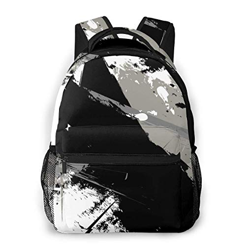 Lawenp Fashion Unisex Backpack Graffiti Black and Gray Bookbag Lightweight Laptop Bag for School Travel Outdoor Camping