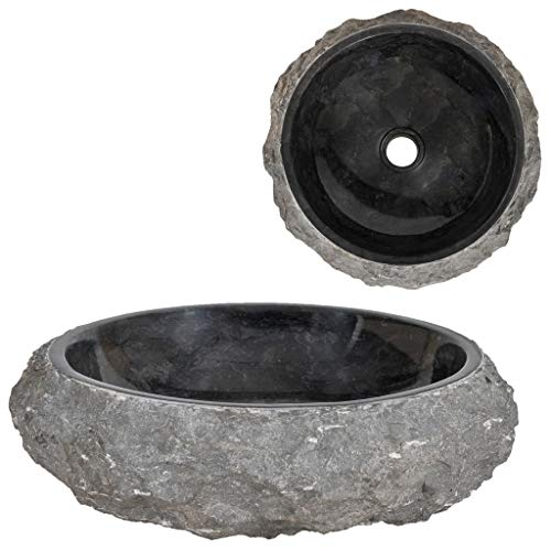 vidaXL Lavabo Sanitario Cuarto de Baño Servicio Fregadero Piezas de Fontanería Bricolaje Instalación Decoración Aseos Grifería 40x12 cm Mármol Negro Piedra Natural
