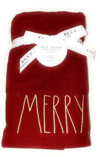 Rae Dunn Set of 2 Embroidered Merry Red Hand Towels for Christmas Bathroom Decor, Christmas Hand Towels, Christmas Decorations